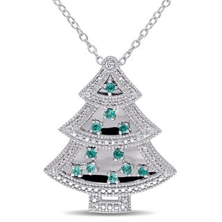 Created Emerald and Created White Sapphire with Diamonds Christmas Tree Necklace in Sterling Silver by Miadora