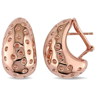 Wide Textured Dot Semi-Hoop Earrings in Rose Plated Italian Sterling Silver by Miadora