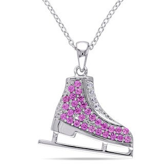 Miadora Created Pink and Created White Sapphire Ice Skate Necklace in Sterling Silver