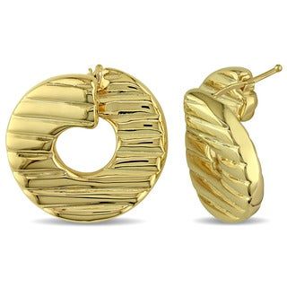 Textured Twist Hoop Earrings in Yellow Plated Italian Sterling Silver by Miadora