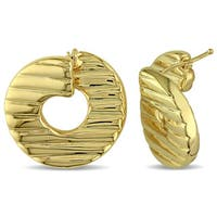 Miadora Textured Twist Hoop Earrings in Yellow Plated Italian Sterling Silver