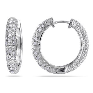 MIadora Sterling Silver 1/2ct TDW Diamond Hoop Earrings with Blue Jewelry Box (G-H, I2-I3)