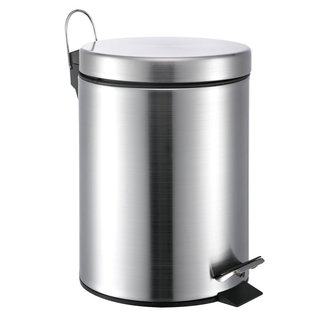 Silver-colored Stainless Steel Round 1.32-gallon Step-on Trash Can