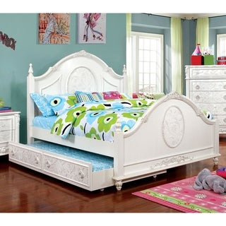 Furniture of America Margie Traditional Elegant Fairy Tale Style Floral Poster Bed with Trundle
