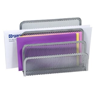 YBM Home 2372 Silver Stainless Steel Mesh 3-slot Letters and Documents Sorter Holder