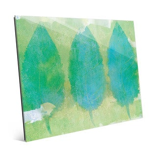 'Beaming Fallen Leaves' Green Acrylic Wall Art