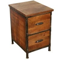 Y-Decor Solid Wood 2-drawer Handmade Rustic Filing Cabinet/ Side Table/ Night Stand