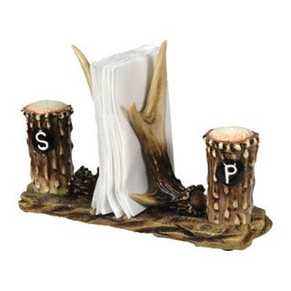 Rivers Edge Products Brown Ceramic Salt and Pepper Antler Napkin Holder