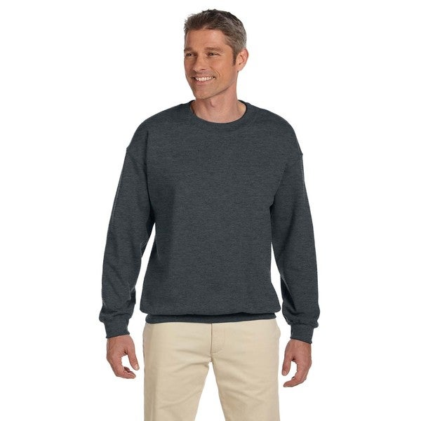50/50 Super Sweats Nublend Fleece Mens Crew-Neck Black Heather Sweater