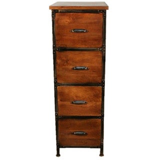Y Decor Rustic Handmade Solid Wood 4 Drawer Cabinet