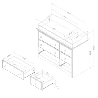 South Shore Angel Changing Table 6-drawers