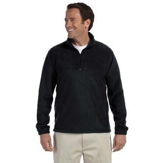 Quarter-Zip Men's Fleece Pullover Black Sweater