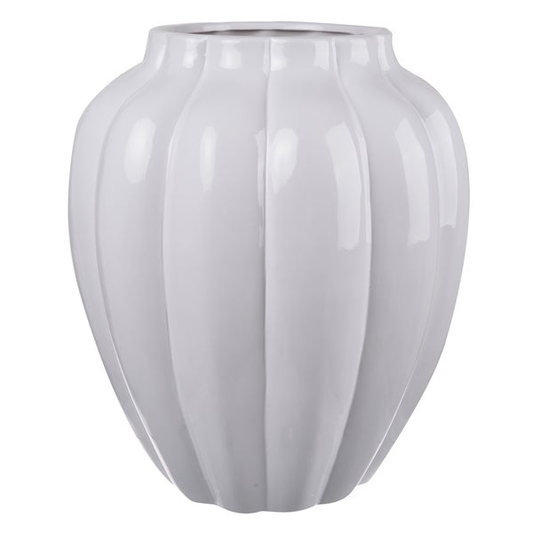 Shop 12 Inch Diameter X 14 Inch Tall White Ceramic Vase On Sale