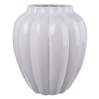 12-inch Diameter x 14-inch Tall White Ceramic Vase