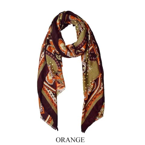 Peach Couture Multicolor Floral Paisley Fabric/Viscose Elegant Soft Eyelet Fringe Long Scarf Shawl