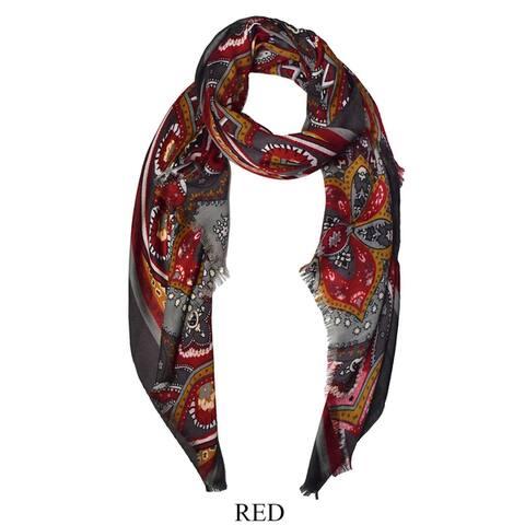 Peach Couture Multicolor Floral Paisley Fabric/Viscose Elegant Soft Eyelet Fringe Long Scarf Shawl