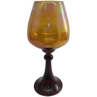 Orange/Brown Glass/Aluminum 7-inch x 14-inch Vase