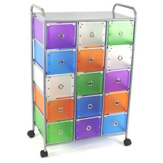Steel and Polypropylene 15-drawer Rolling Cart with Circular Handles