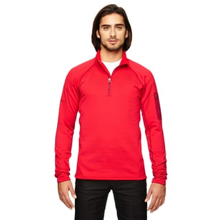 Stretch Men's Big and Tall Fleece Team Red Half-Zip