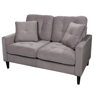 Porter Tribeca Grey Microfiber Contemporary Modern Loveseat with 2 Matching Throw Pillows