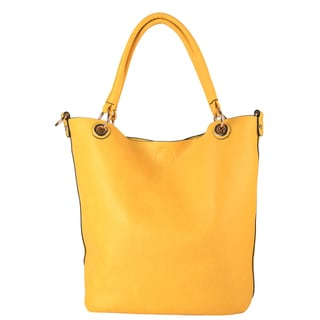 Diophy Faux-leather Double-handle Large Bag-in-bag Tote