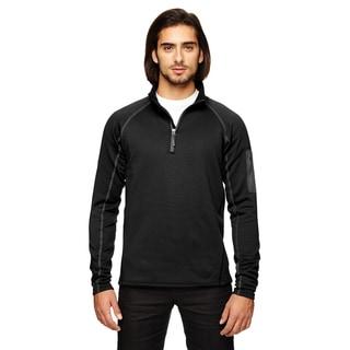 Stretch Men's Big and Tall Fleece Black Half-Zip