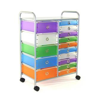 Multicolored Polypropylene/Steel 15-drawer Rolling Storage Cart