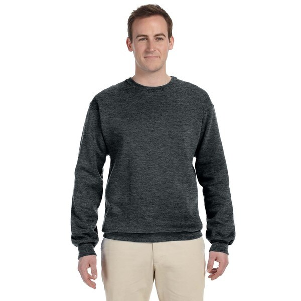 50/50 Nublend Fleece Mens Crew-Neck Black Heather Sweater