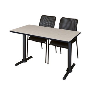 Regency Seating Cain 48-inch Training Table with 2 Black Mario Stack Chairs