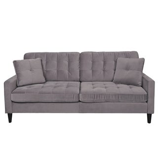 Porter Tribeca Grey Microfiber Contemporary Modern Sofa with 2 Matching Throw Pillows
