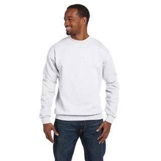 Comfortblend Ecosmart 50/50 Fleece Men's Crew-Neck White Sweater