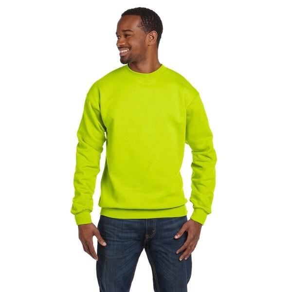 Comfortblend Ecosmart 50/50 Fleece Mens Crew-Neck Safety Green Sweater