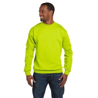 Comfortblend Ecosmart 50/50 Fleece Men's Crew-Neck Safety Green Sweater