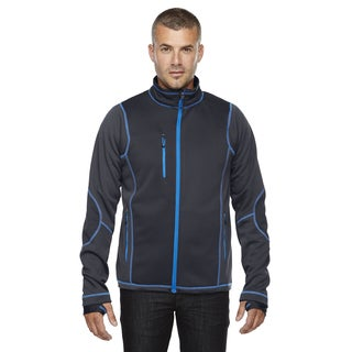 Pulse Textured Bonded Fleece Men's Big and Tall With Print Carbon/Oly Bl 466 Jacket