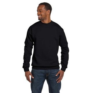 Comfortblend Ecosmart 50/50 Fleece Men's Crew-Neck Black Sweater