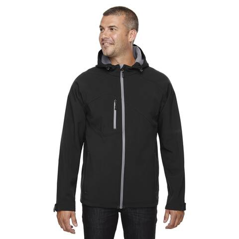 Prospect Two-Layer Fleece Bonded Soft Shell Hooded Men's Big and Tall Black 703 Jacket