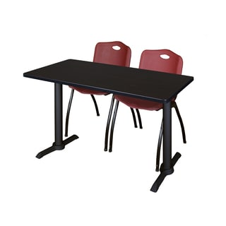 Regency Seating Cain 48-inch x 24-inch Training Table With 2 Burgundy M Stack Chairs