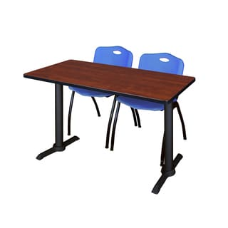 Cain 48-inch x 24-inch Training Table With Two Blue M Stack Chairs