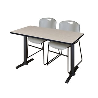 Regency Seating Cain Metal Frame Training Table with 2 Grey Zeng Stack Chairs