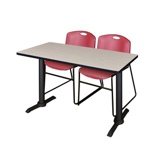 Cain Training Table with 2 Zeng Burgundy Stack Chairs