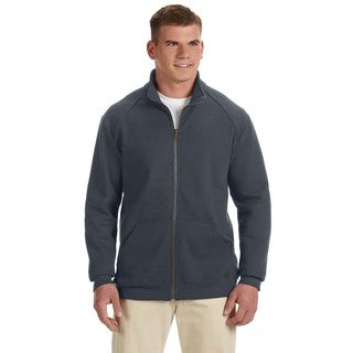 Premium Cotton 9-Ounce Fleece Full-Zip Men's Big and Tall Charcoal Jacket