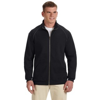 Premium Cotton 9-Ounce Fleece Full-Zip Men's Big and Tall Black Jacket