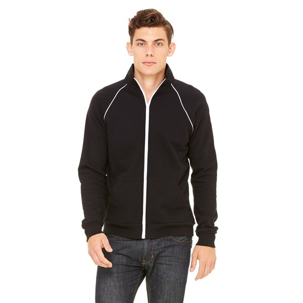 Piped Fleece Mens Black Jacket
