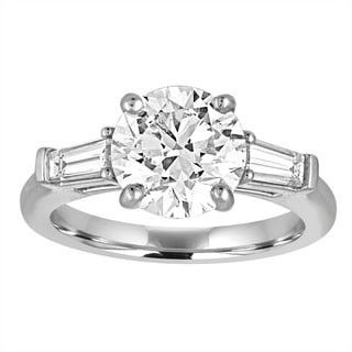 Size 6 Platinum 3ct TDW GIA Certified Diamond Engagement Ring By Life More Dazzling (I-J, SI1-SI2)