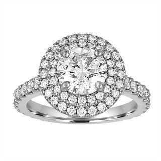 Size 6 Platinum 2 2/5ct TDW AGS Certified Round-cut Diamond Halo Ring By Life More Dazzling (H-I, SI1-SI2)