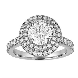 Size 6 Platinum 2 1/2ct TDW GIA Certified Diamond Double Halo Ring By Life More Dazzling (E-F,SI1-SI2)