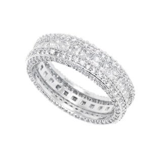 Rhodium Plated French-cut Cubic Zirconia Eternity Band - White