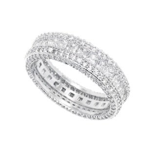 Link to Rhodium Plated French-cut Cubic Zirconia Eternity Band - White Similar Items in Rings