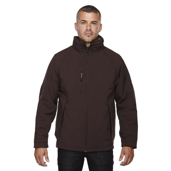 Glacier Insulated Three-Layer Fleece Bonded Soft Shell Mens with Detachable Hood Dark Chocolte 672 Jacket