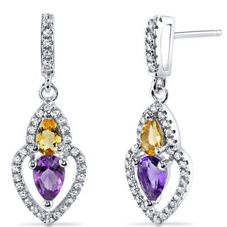 Oravo Sterling Silver 1ct TGW Amethyst and Citrine Pear-shape Earrings